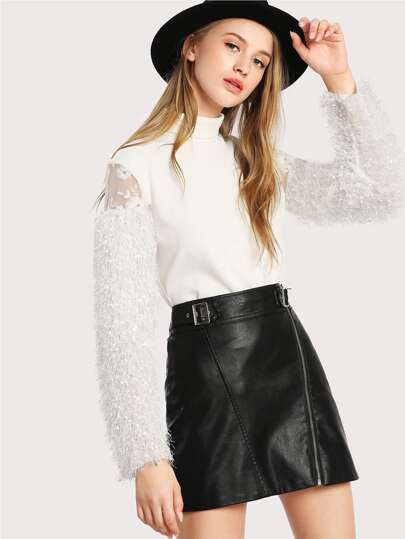 Contrast Mesh And Faux Fur Sleeve Ribbed Tee