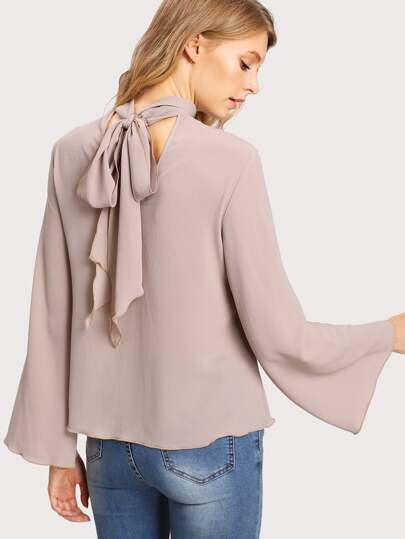 Tie Back Fluted Sleeve Top