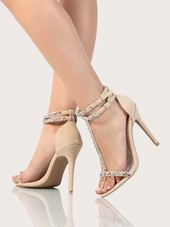 Colorful Embellished T Strap Heels NUDE