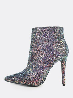 Irridescent Point Toe Glitter Booties BLACK