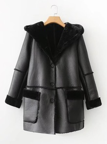 Seam Detail PU Hooded Coat