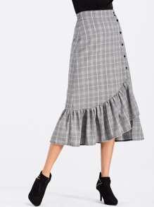 Glen Plaid Flounce Hem Button Up Skirt