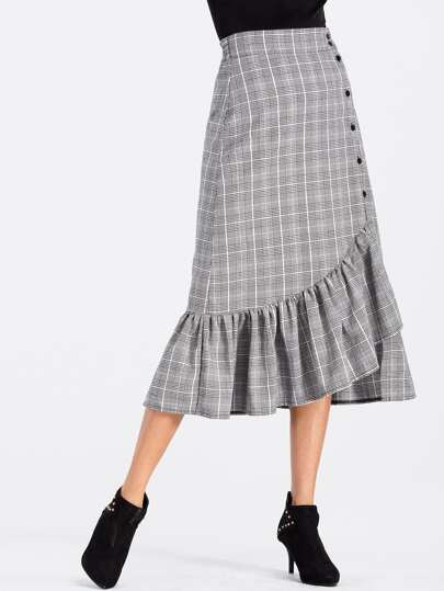 Glen Plaid Flounce Hem Button Up Skirt