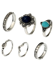 Turquoise Stone Statement Ring Pack 6pcs