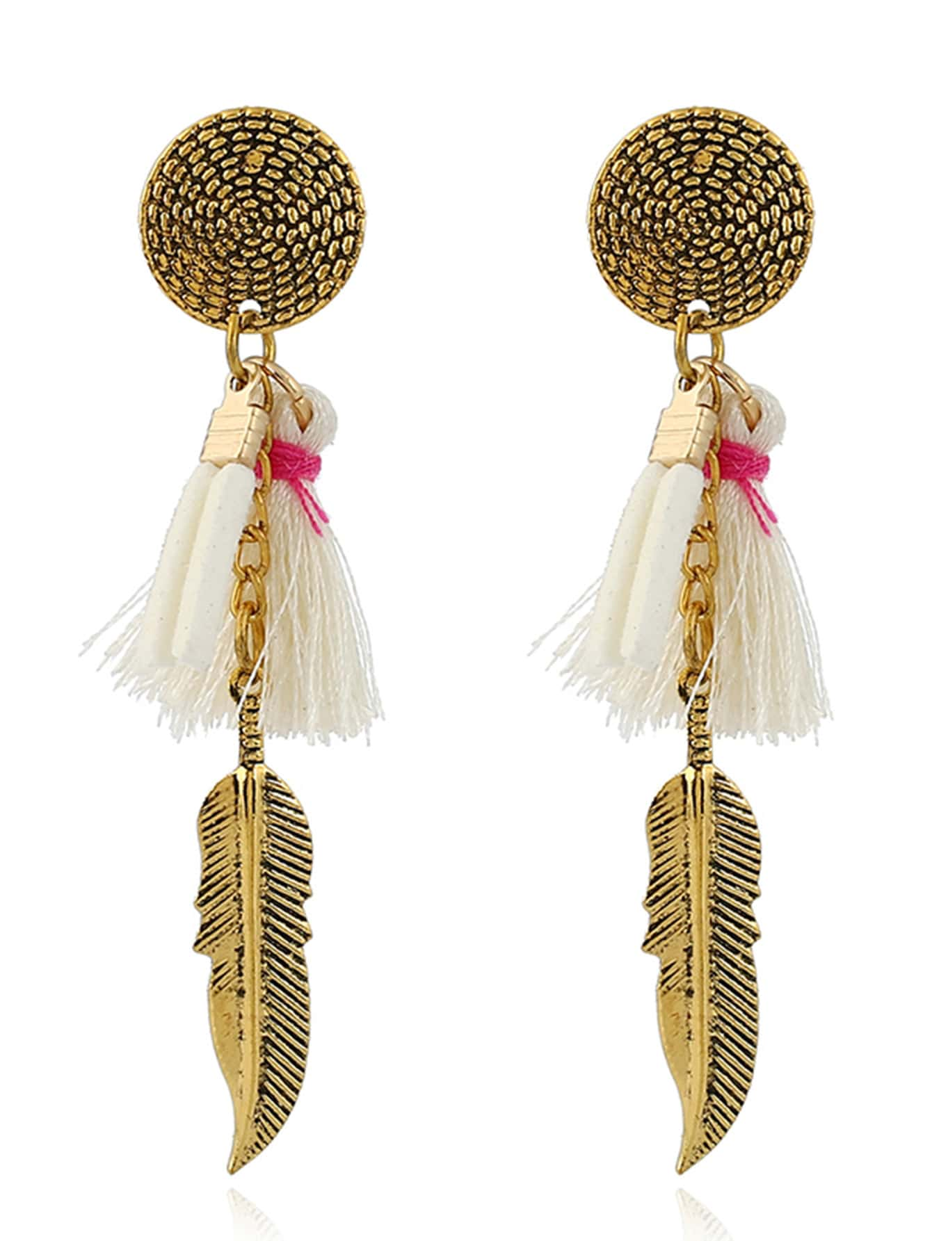 Tassel Detail Feather Drop Earrings