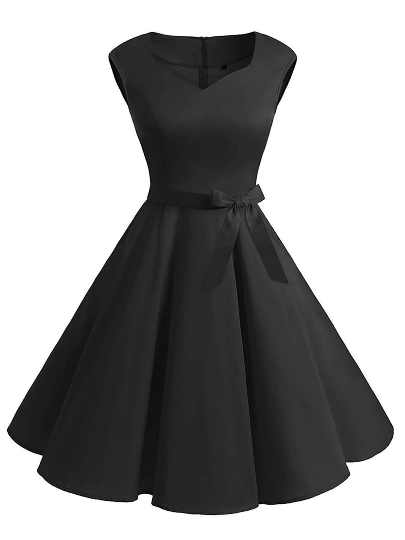 v neckline flare dress with belt shein sheinside. Black Bedroom Furniture Sets. Home Design Ideas