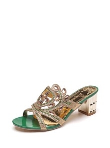 Rhinestone Decorated Cut Out Sandals