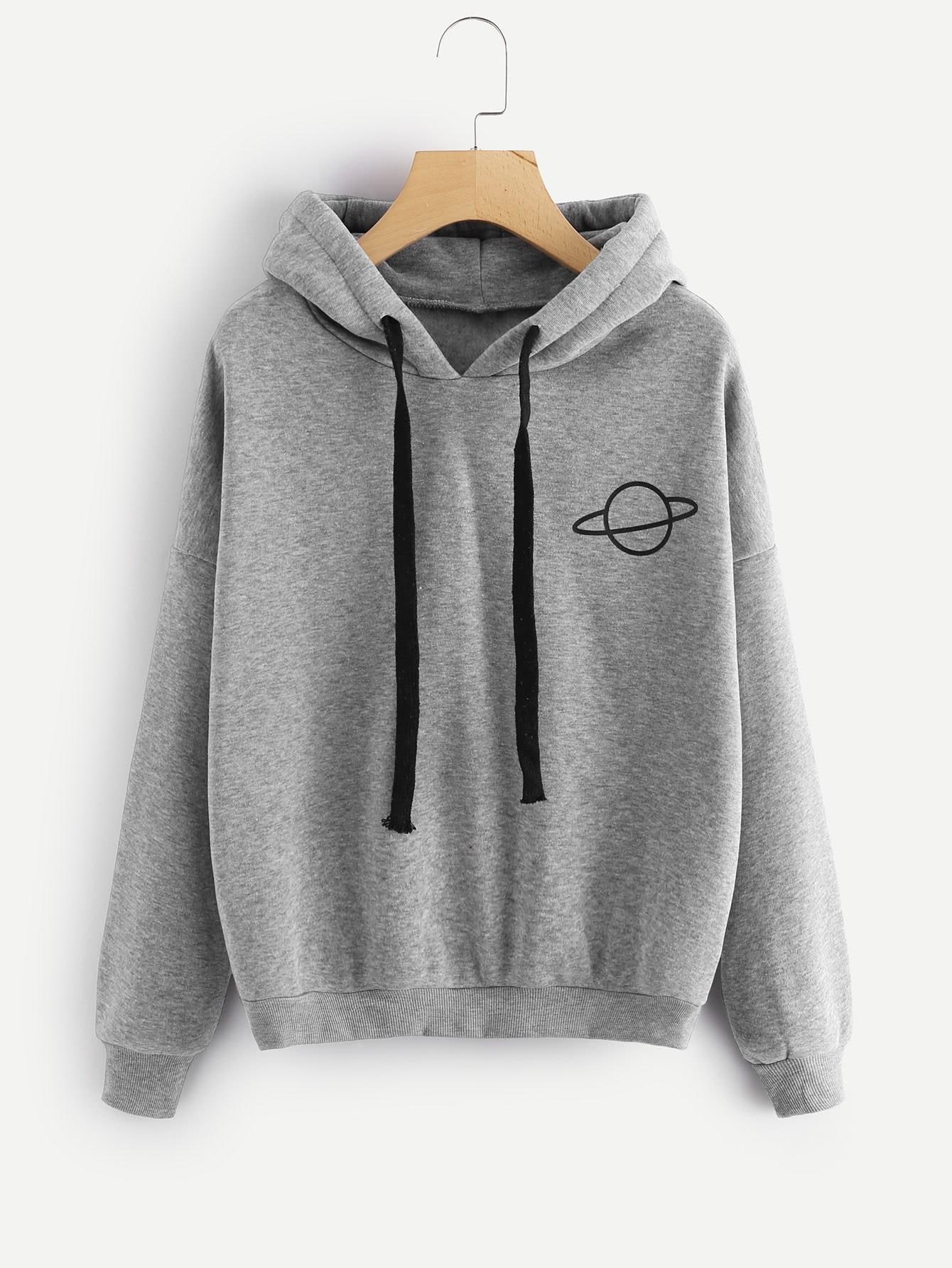 Planet Print Marled Hoodie side slit marled long hoodie