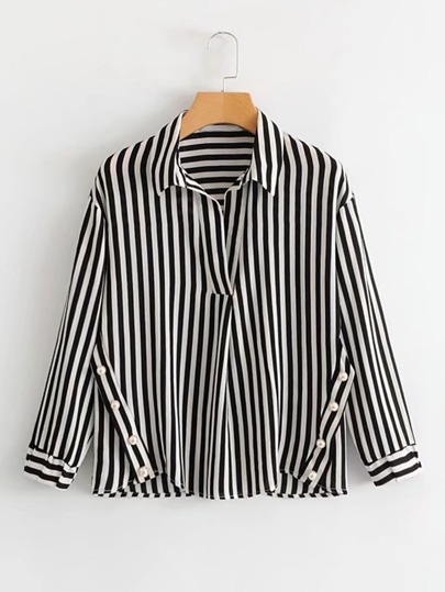 Faux Pearl Detail Striped Blouse