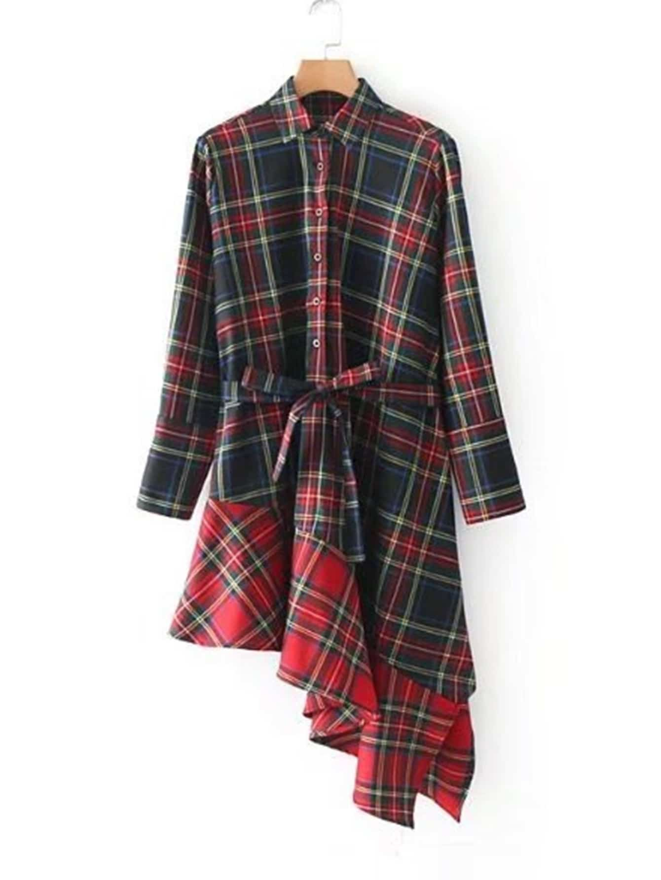 Asymmetrical Ruffle Hem Plaid Dress With Belt knot waist asymmetrical ruffle hem plaid skirt