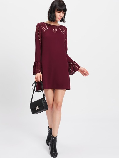 Trumpet Sleeve Laser Cut Dress