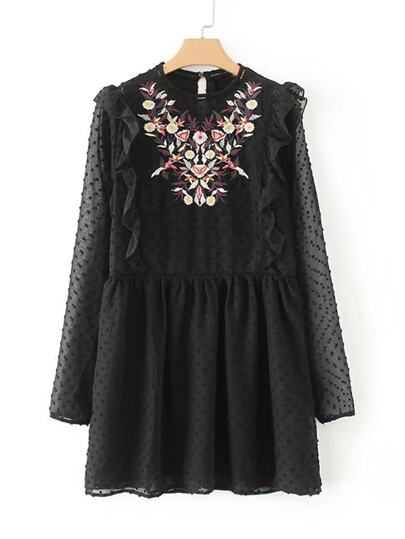 Ruffle Detail Dot Textured Embroidery Dress