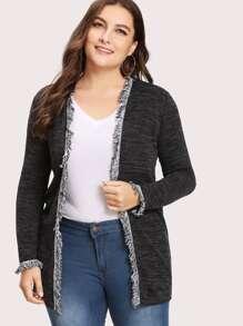 Fringe Trim Marled Knit Cardigan SHEIN