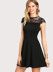 Lace Yoke Fit & Flare Dress