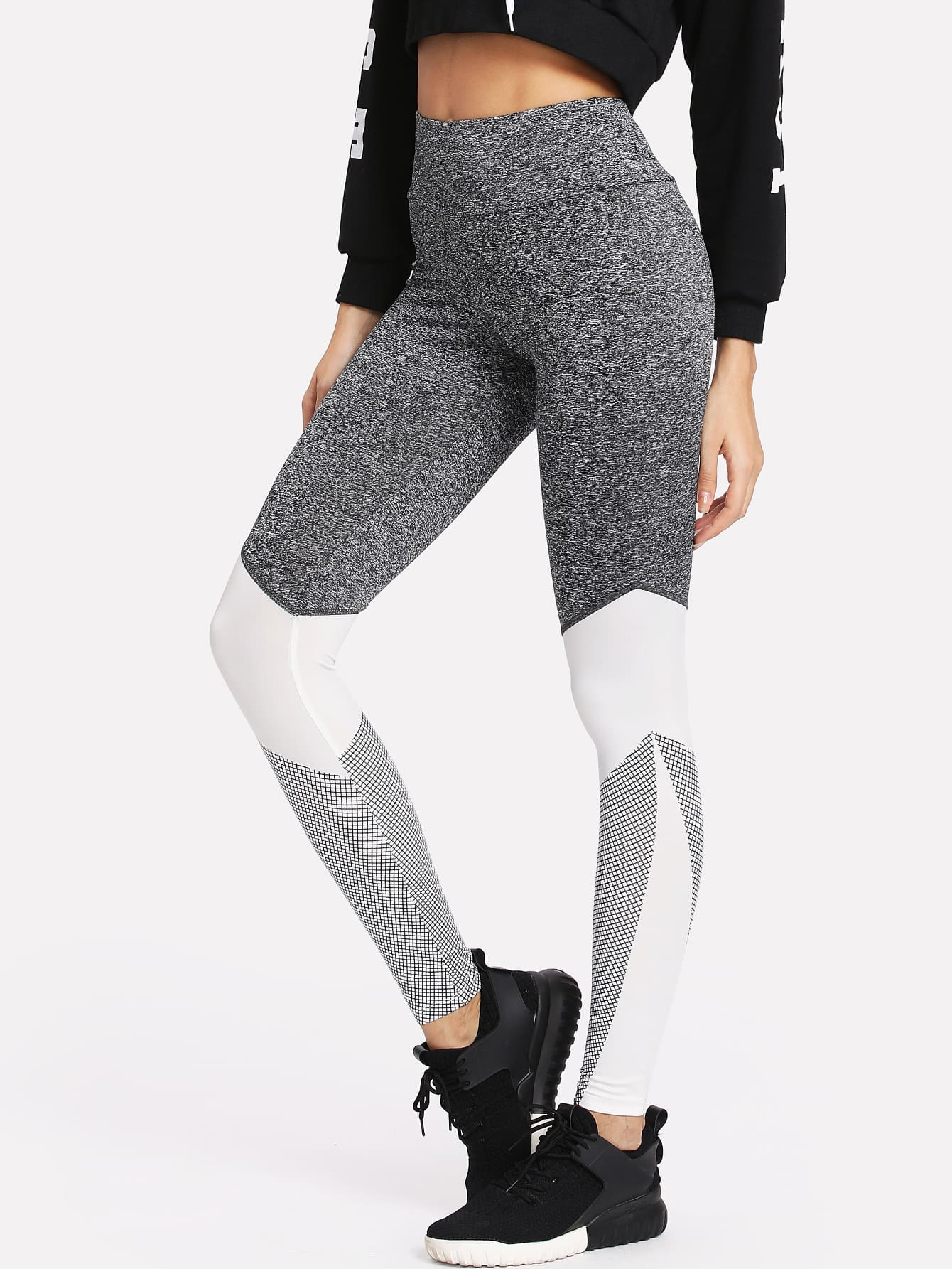 Wide Waistband Cut And Sew Leggings knit wide waistband leggings