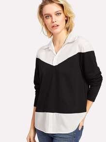 Contrast Panel High Low Shirt