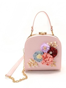 3D Flower Faux Pearl Detail Shoulder Bag
