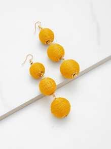 Pom Pom Design Drop Earrings