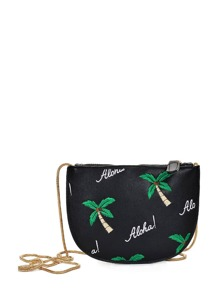 Palm Tree Embroidery Shoulder Bag