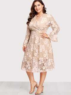 Plus Flounce Sleeve Surplice Wrap Floral Lace Dress