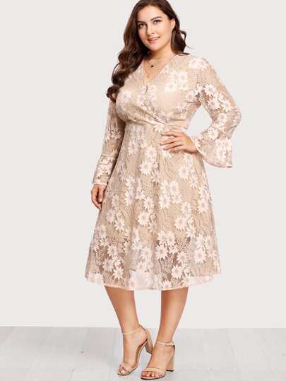 Flounce Sleeve Surplice Wrap Floral Lace Dress