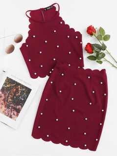 Pearl Beading Scalloped Halter Top & Skirt Set