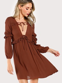 Frilled Sleeve Cut Out Dress BRICK