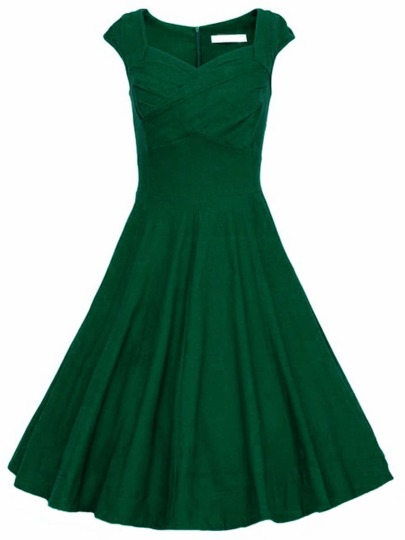 Dark Green Raw Waterfall Underskirt Heart Shape Collar Sleeveless Flare Dress