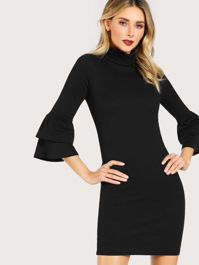 Turtle Neck Ruffle Sleeve Solid Dress