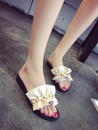Romwe / Faux Pearl Detail Ruffle Design PU Sandals
