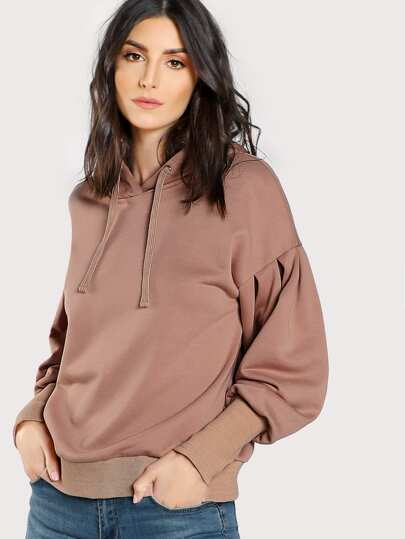 Drop Shoulder Bishop Sleeve Hoodie