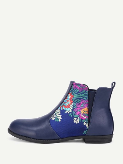Flower Embroidery PU Flat Boots