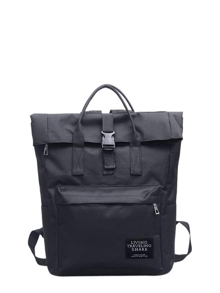 roll up canvas backpack shein sheinside. Black Bedroom Furniture Sets. Home Design Ideas