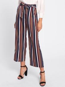 Tie Waist Striped Culotte Pants