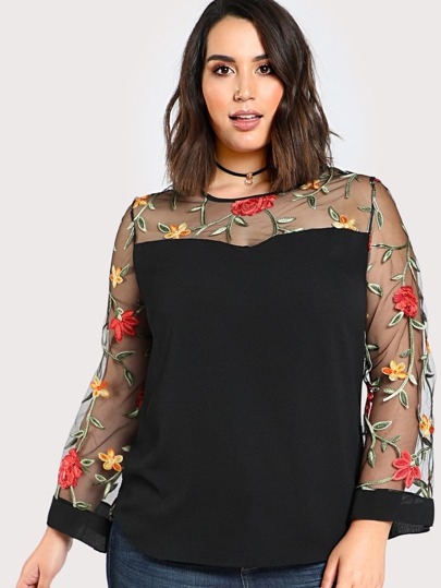 Sheer Sleeve Floral Embroidered Top BLACK