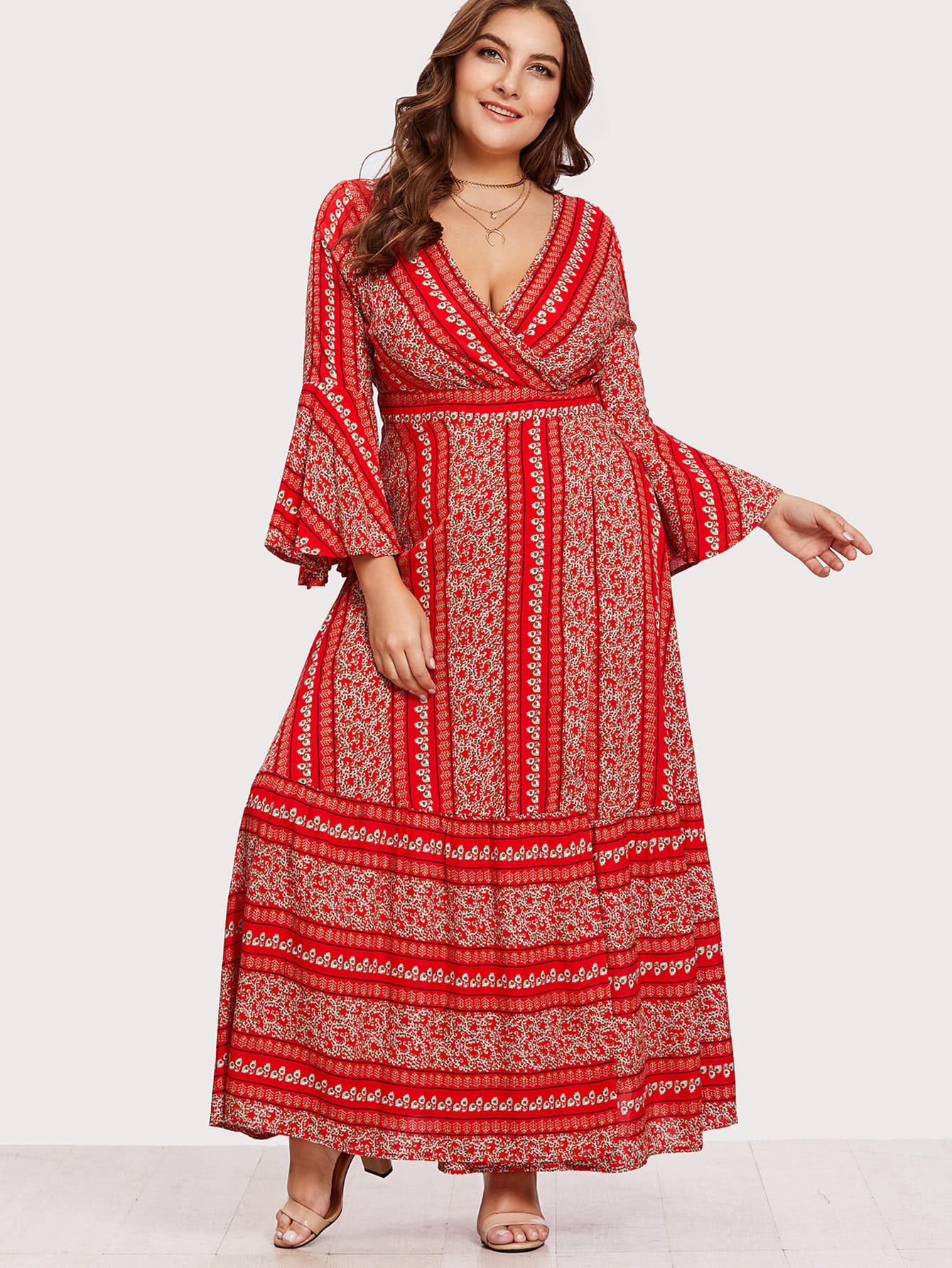 Flounce Sleeve Ditsy Print Wrap Dress off shoulder ditsy dress