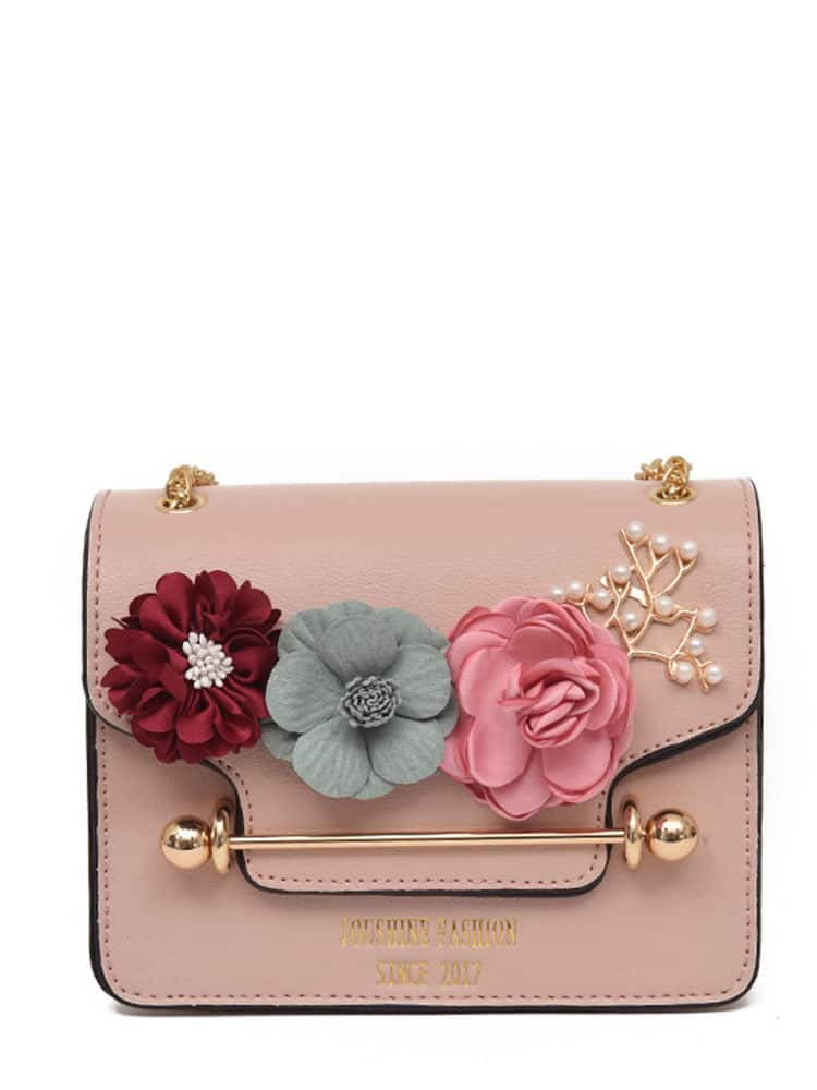 Image of 3D Flower Faux Pearl Detail Chain Bag