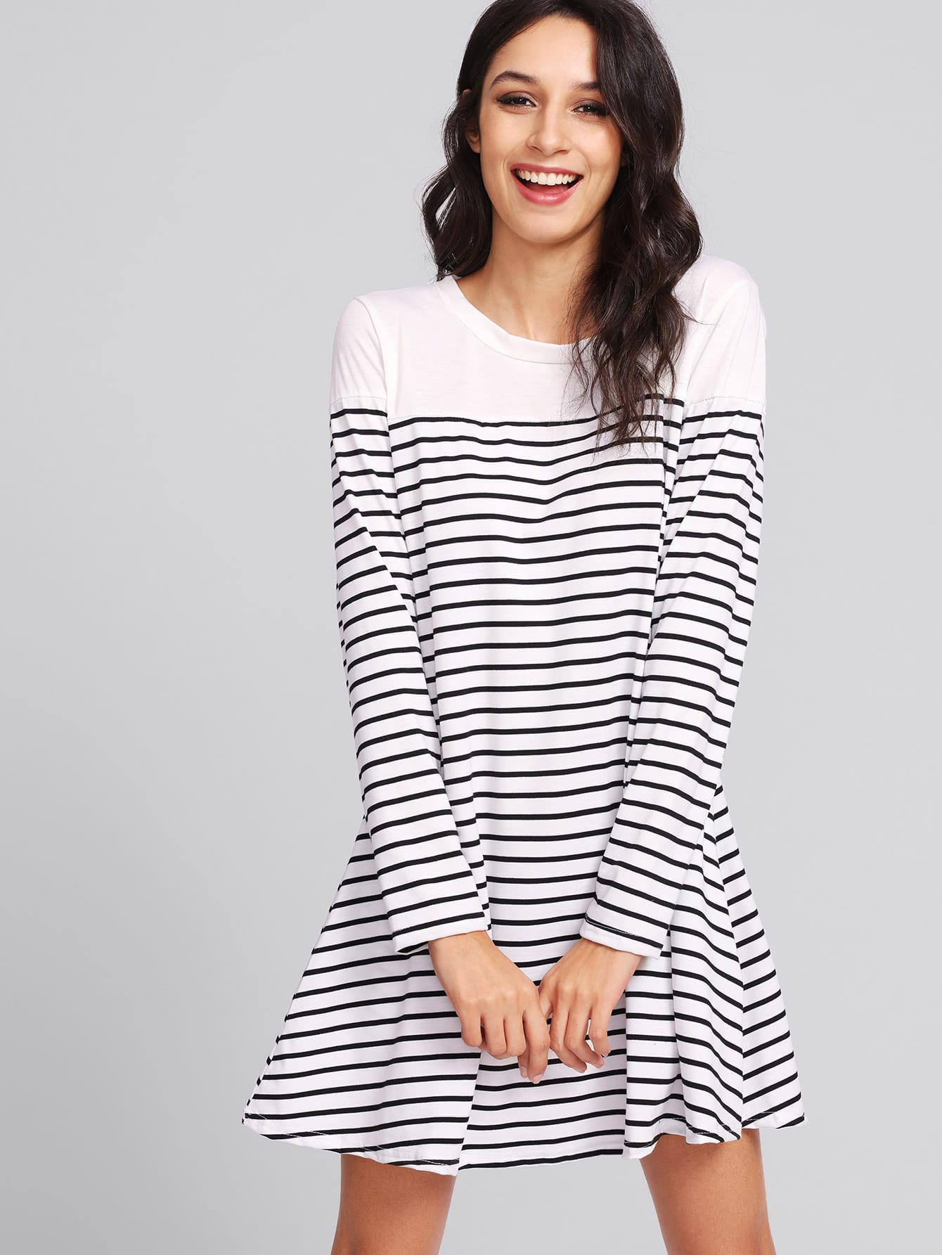 Contrast Striped Tee Dress contrast striped trim camo print tee