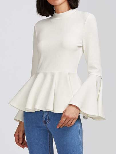 Fluted Sleeve Textured Peplum Top