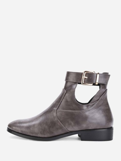Cut Out Buckle Decorated Ankle Boots