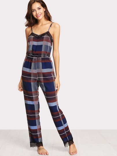 Floral Lace Detail Plaid Cami Top & Pants PJ Set