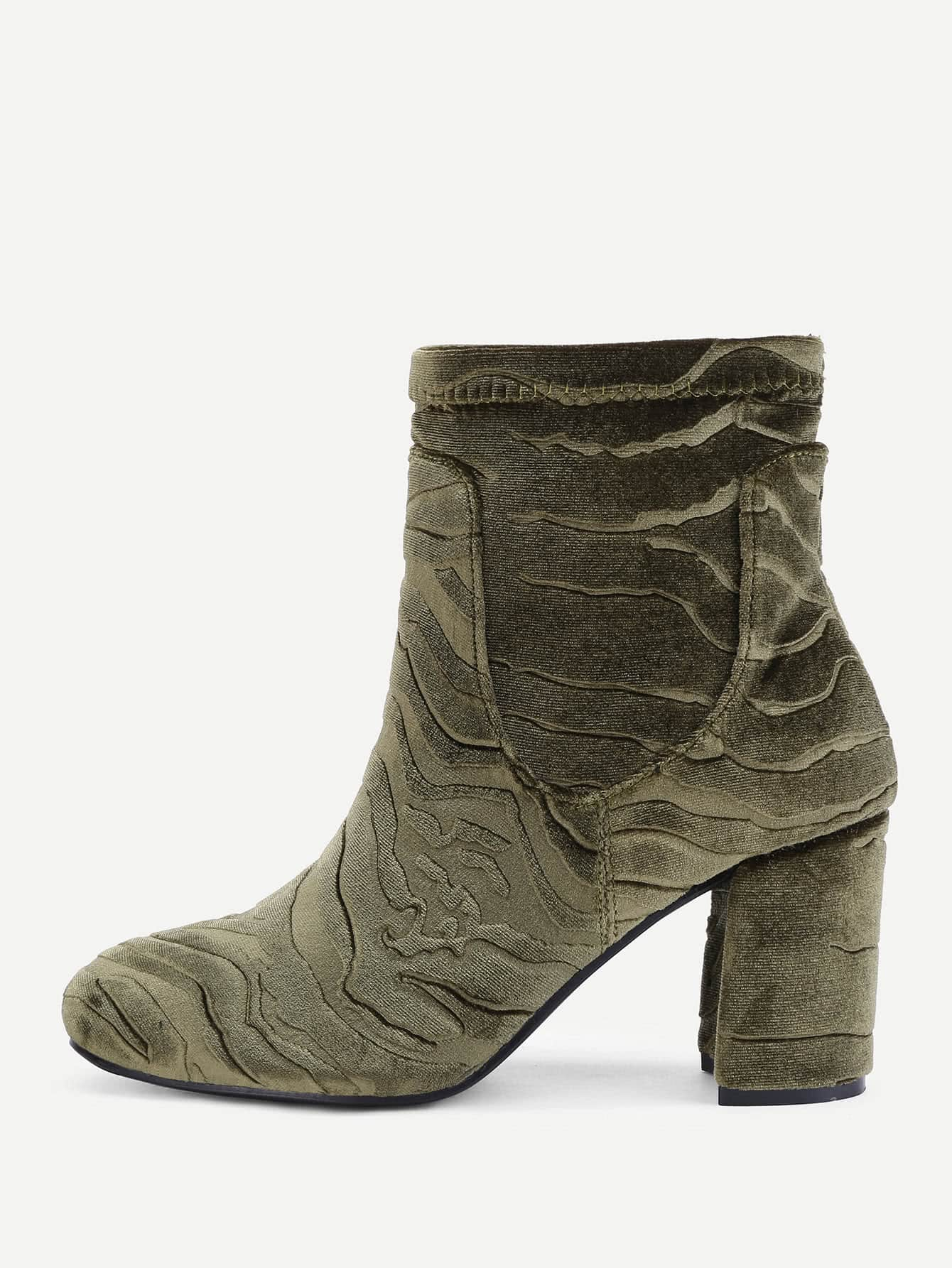 Velvet Block Heeled Ankle Boots