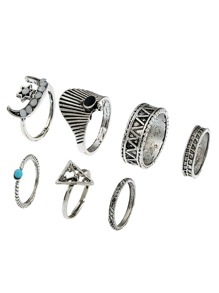 Gemstone Crescent Aztec Ring Pack 7pcs