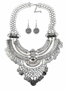 Sequin Charm Pendant Retro Necklace & Earring Set