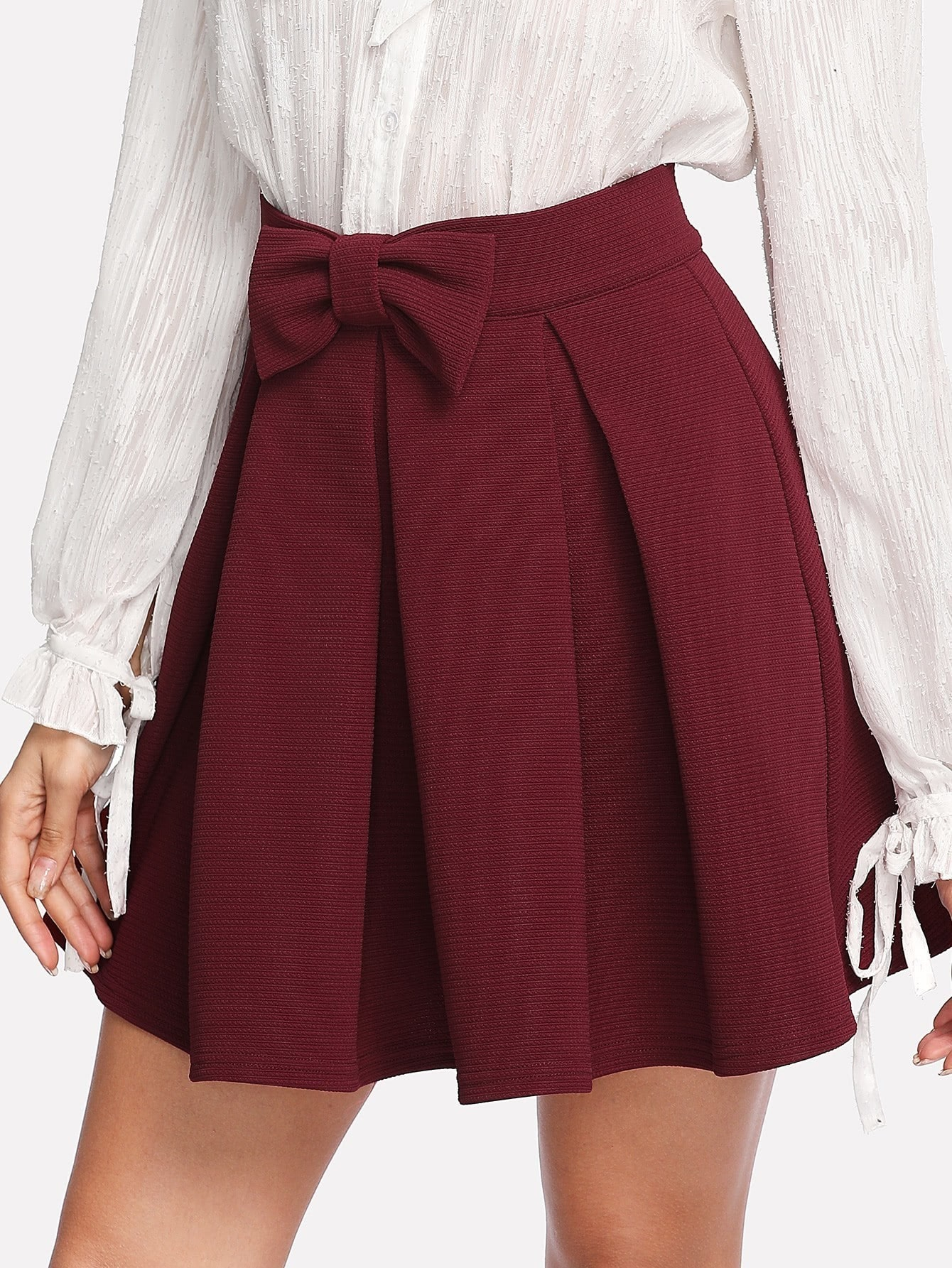 Bow Front Box Pleated Textured Skirt box pleated suede skirt