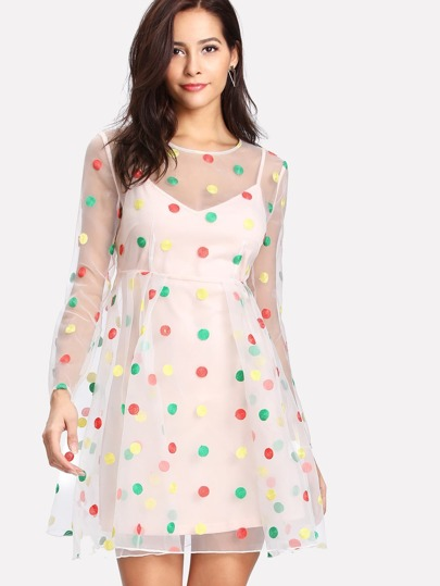 Dot Embroidered Mesh 2 In 1 Dress