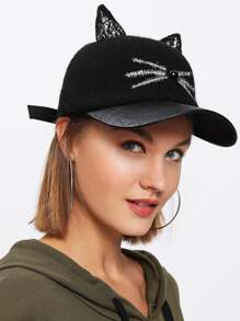 Lace Cat Ear Baseball Cap