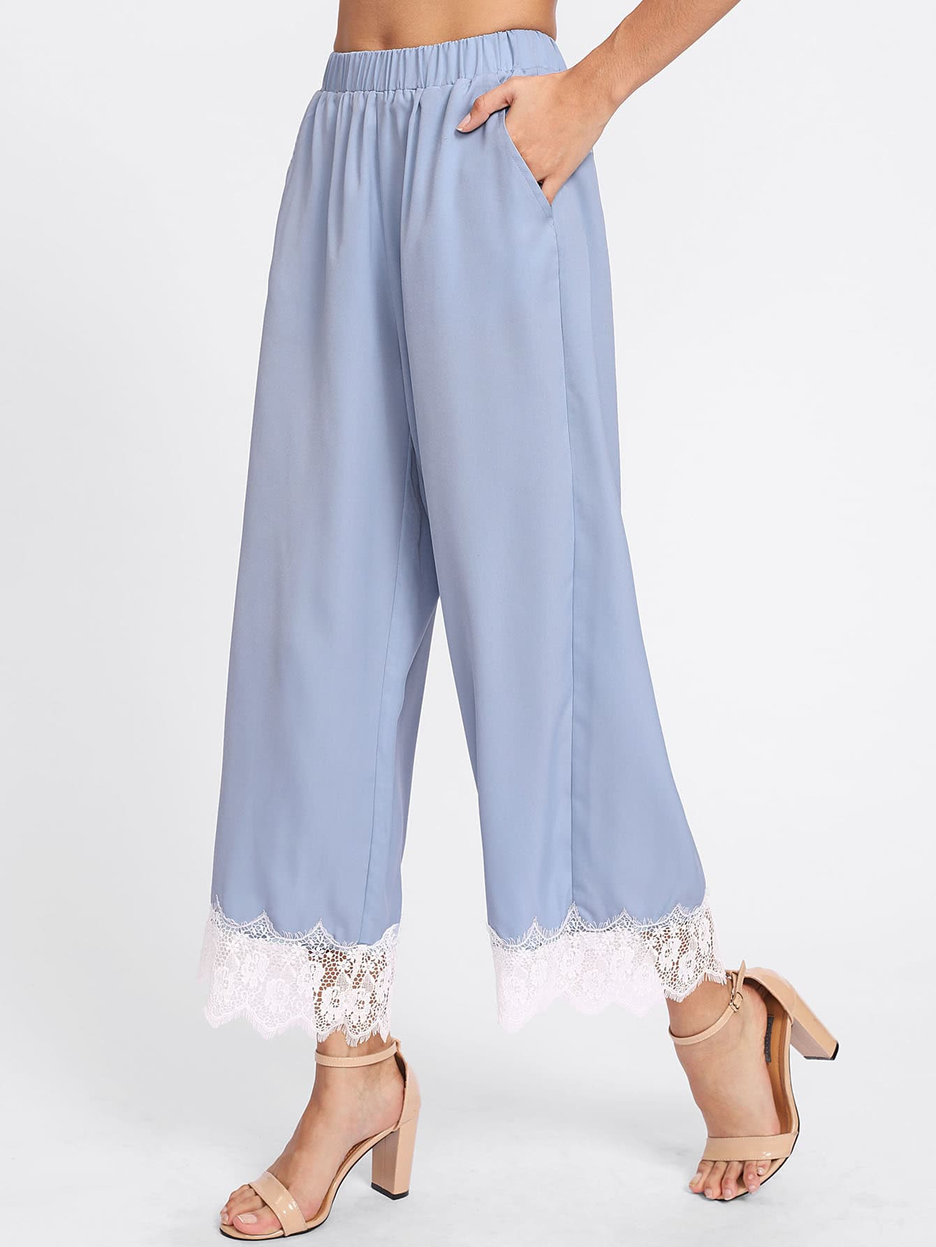 Image of Contrast Lace Trim Palazzo Pants