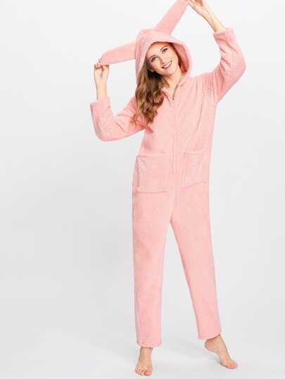 Faux Fur Rabbit Pattern PJ Jumpsuit