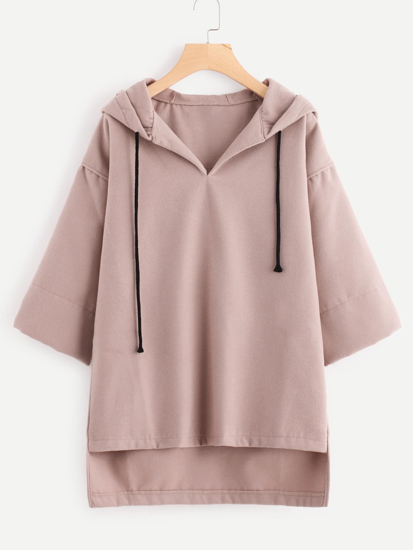 Drop Shoulder High Low Hoodie